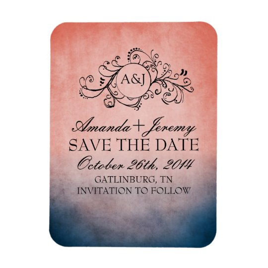 Rustic Blue and Pink Bohemian Save The Date Magnet