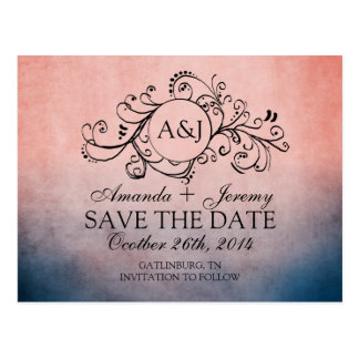 Rustic Blue and Pink Bohemian Save The Date Postcards