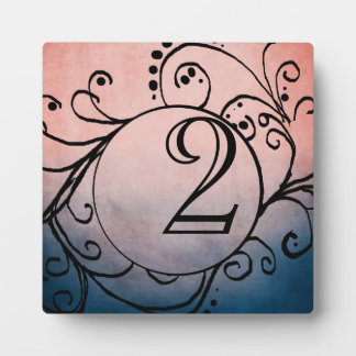 Rustic Blue and Pink Bohemian Table Number Photo Plaques