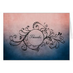 Rustic Blue and Pink Bohemian Thank You Note Greeting Cards