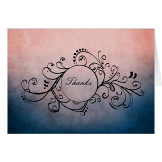 Rustic Blue and Pink Bohemian Thank You Note Card