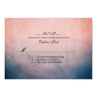 Rustic Blue and Pink Bohemian Wedding RSVP Announcements