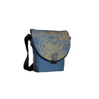 Rustic Blue and Yellow Swirls Courier Bag
