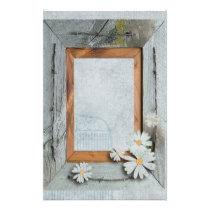 rustic blue barn wood daisy country wedding stationery