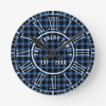 Rustic Blue Buffalo Plaid White Roman Numerals Round Clock