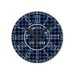 Rustic Blue Buffalo Plaid White Roman Numerals Round Clock