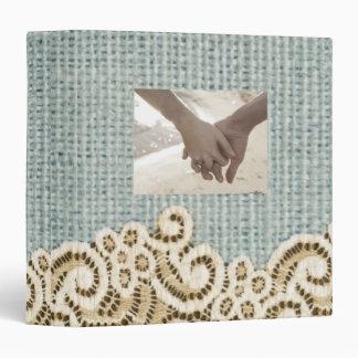 rustic blue burlap beige lace country wedding vinyl binders