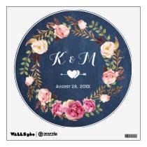 Rustic Blue Chalkboard Floral Wreath Wedding Decor Wall Sticker