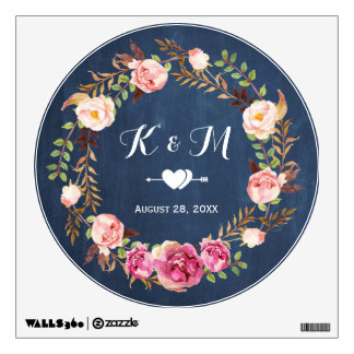 Rustic Blue Chalkboard Floral Wreath Wedding Decor Wall Sticker