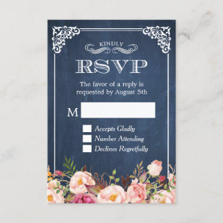 Rustic Blue Chalkboard Pink Floral RSVP Reply