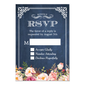 Rustic Blue Chalkboard Pink Floral RSVP Reply Card