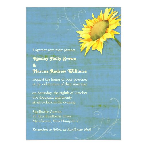 Rustic Blue Country Sunflower Wedding Invitations
