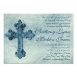 "Rustic Blue Cross Distressed Wedding Invitations 4.5"" X 6.25"" Invitation Card"