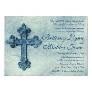 Rustic Blue Cross Distressed Wedding Invitations