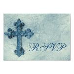 "Rustic Blue Cross Distressed Wedding RSVP Cards 3.5"" X 5"" Invitation Card"