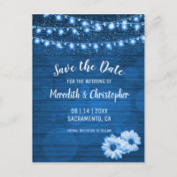Rustic Blue Daisy String Lights Save the Date Announcement Postcard