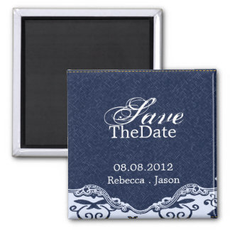 rustic blue denim country wedding save the date magnet
