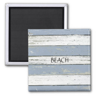 Rustic Blue Driftwood 2 Inch Square Magnet