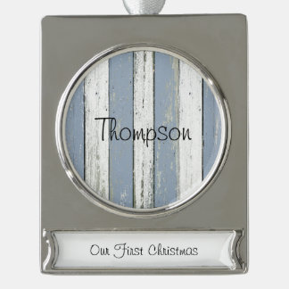 Rustic Blue Driftwood Silver Plated Banner Ornament