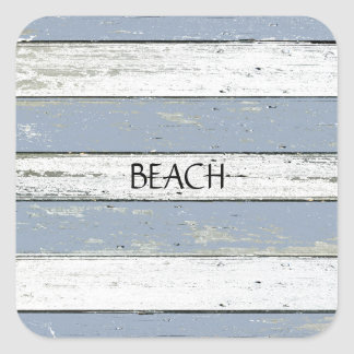 Rustic Blue Driftwood Square Sticker