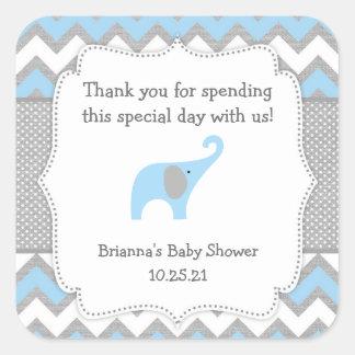 Rustic Blue Elephant baby shower favor sticker boy