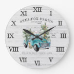 Rustic Blue Farmhouse Truck Christmas Family Name Large Clock