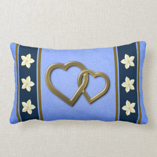 Rustic Blue Floral Heart Valentines Day Pillow Pillows