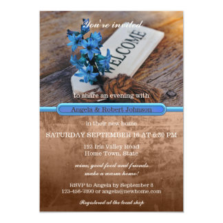 Rustic Blue Floral Housewarming Party Invitation