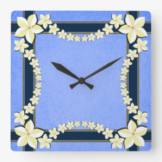 Rustic Blue Floral Modern Trendy Square Wall Clock