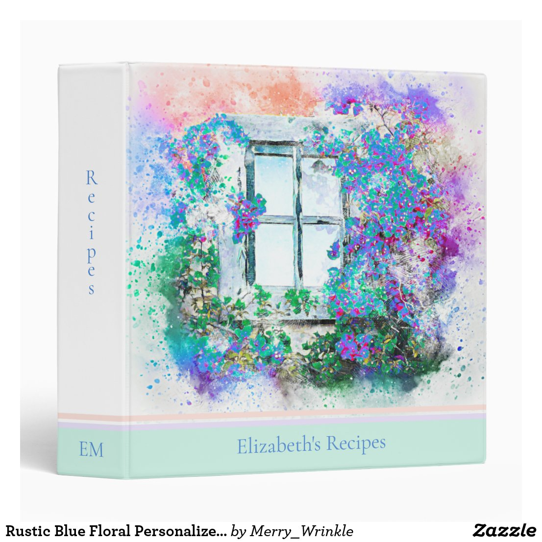 Blue Floral Personalized Recipe 3 Ring Binder