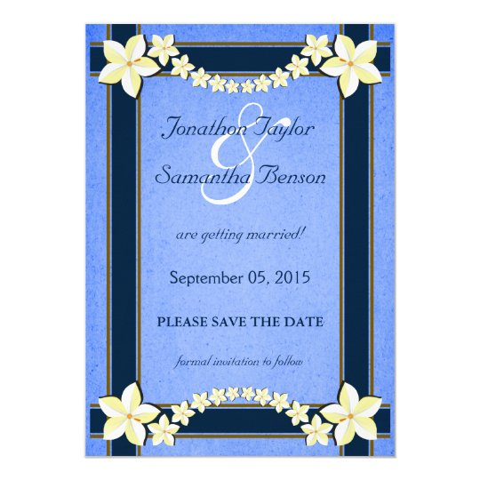 Rustic Blue Floral Save The Date Announcements