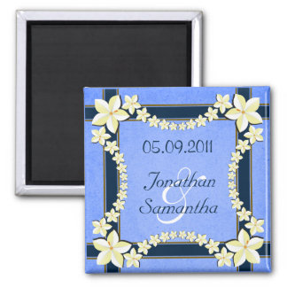 Rustic Blue Floral Save The Date Fridge Magnets