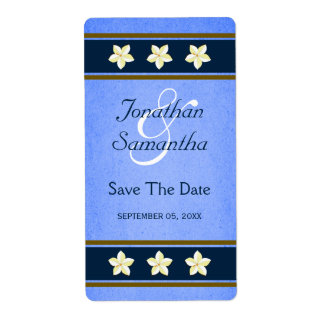 Rustic Blue Floral Save The Date Wine Labels Large Personalized Shipping Label