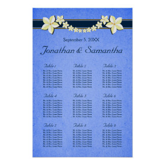 Rustic Blue Floral Wedding 9 Table Seating Charts Poster