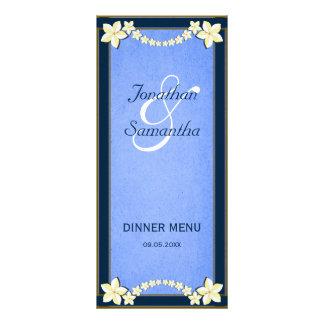 Rustic Blue Floral Wedding Dinner Menu Cards