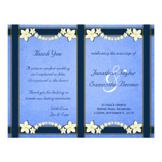 Rustic Blue Floral Wedding Program Templates