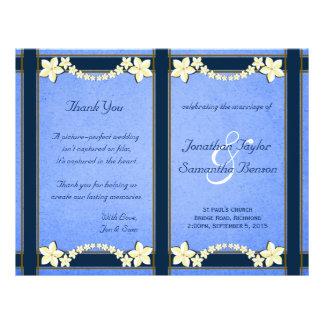 "Rustic Blue Floral Wedding Program Templates 8.5"" X 11"" Flyer"
