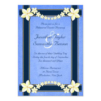 Rustic Blue Floral Wedding Rehearsal Dinner Invite