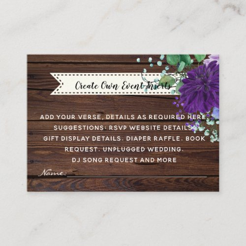 Rustic Blue Flower Wedding Details Cards _ Insert