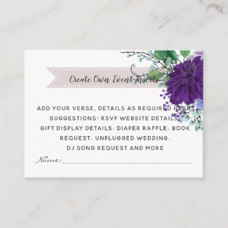 Rustic Blue Flower Wedding Details Cards - Insert