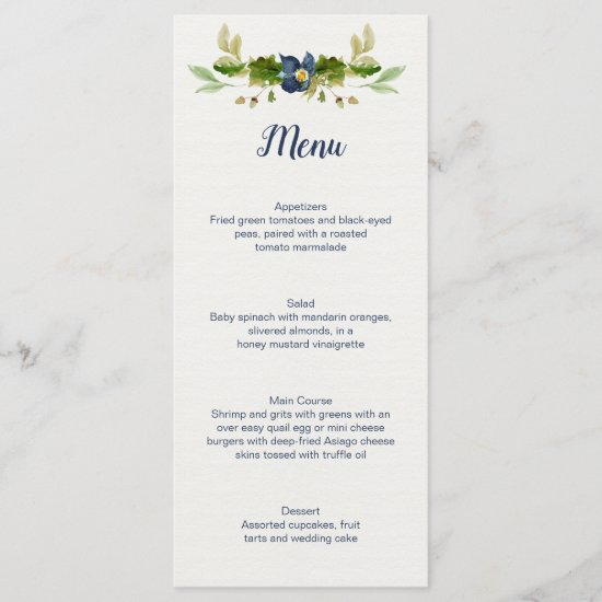 Rustic Blue Flowers Acorns Oak Leaves Wedding | Menu