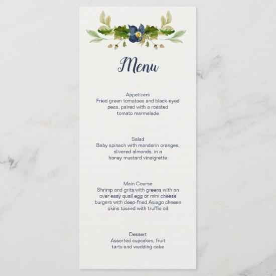 Rustic Blue Flowers Acorns Oak Leaves Wedding | Menu