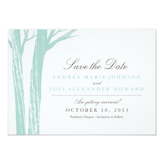 Rustic Blue Forest Wedding Save the Date Card