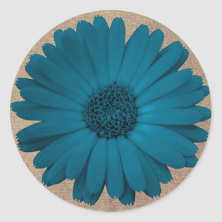 Rustic Blue Gerber Daisy Round Stickers Seals