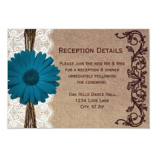 Rustic Blue Gerber Daisy Wedding Reception Cards Invites