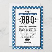 Rustic Blue Gingham Wedding Couples Shower BBQ Invitation