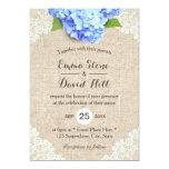 Rustic Blue Hydrangea Floral Lace & Burlap Wedding Card