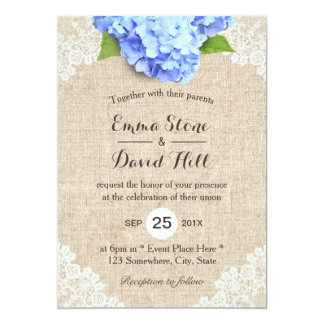 rustic blue hydrangea floral lace burlap wedding card - Burlap Wedding Invitations