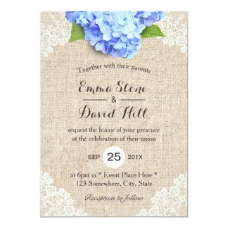 Rustic Blue Hydrangea Floral Lace U0026amp; Burlap Wedding Card