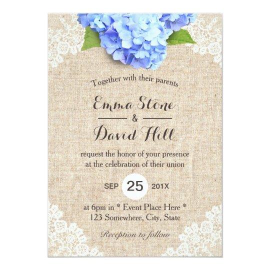 Rustic Blue Hydrangea Fl Lace Burlap Wedding Invitation